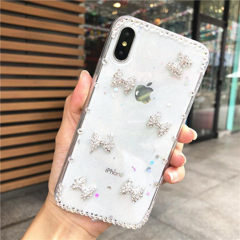 Little Bowknot Rhinestone Clear Transparent Phone Case for Samsung gallery 2