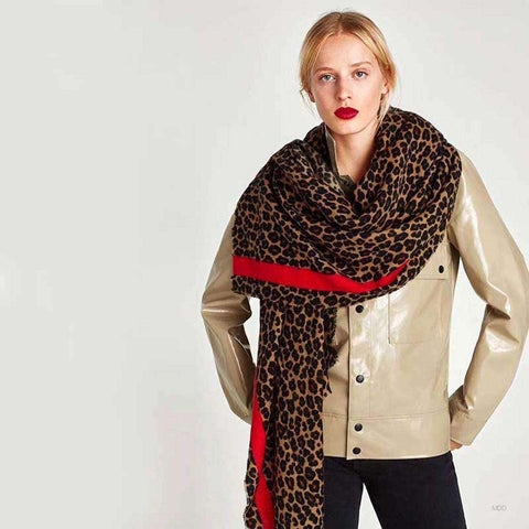 Autumn Winter Pashmina Scarf Dual Purpose Thickening Leopard Print Shawl For Women gallery 1