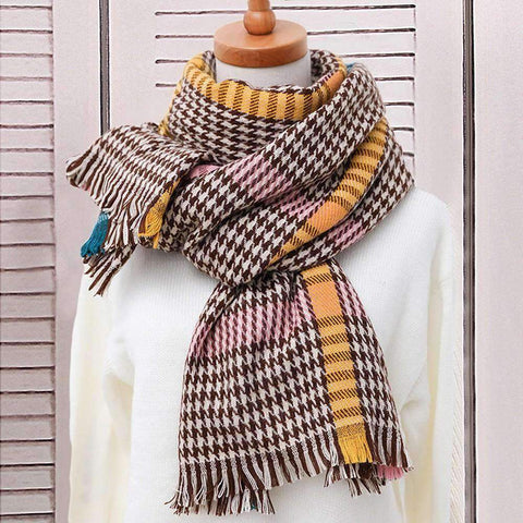 Classic Long Check Scarf With Frayed Edges For Men And Women, Unisex Faux Cashmere Plaid Muffler gallery 11