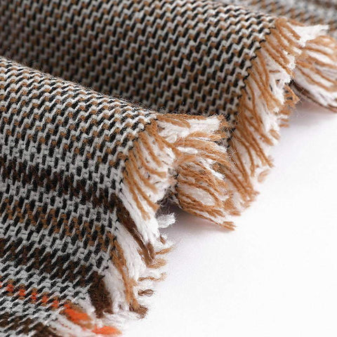 Classic Long Check Scarf With Frayed Edges For Men And Women, Unisex Faux Cashmere Plaid Muffler gallery 12