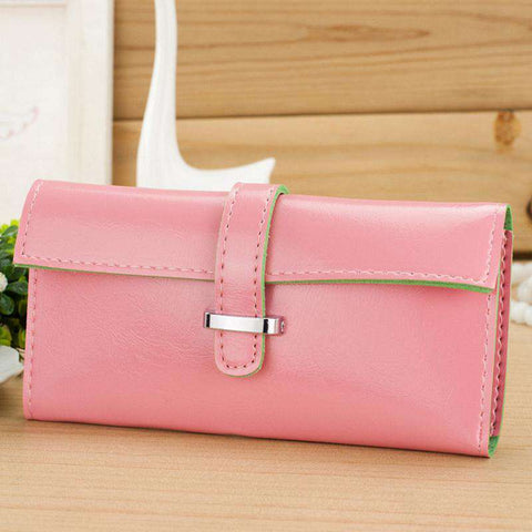 New Fashion Women Long Purse Soft PU Leather Strap Candy Color Wallet Card Holder Clutch Bag gallery 15