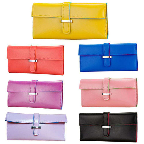 New Fashion Women Long Purse Soft PU Leather Strap Candy Color Wallet Card Holder Clutch Bag gallery 12