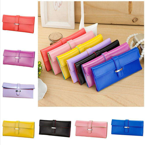 New Fashion Women Long Purse Soft PU Leather Strap Candy Color Wallet Card Holder Clutch Bag gallery 10