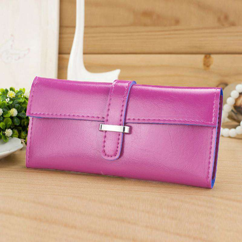 New Fashion Women Long Purse Soft PU Leather Strap Candy Color Wallet Card Holder Clutch Bag