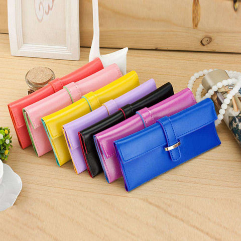New Fashion Women Long Purse Soft PU Leather Strap Candy Color Wallet Card Holder Clutch Bag gallery 5