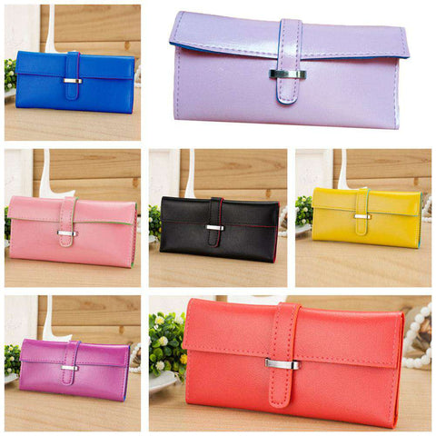New Fashion Women Long Purse Soft PU Leather Strap Candy Color Wallet Card Holder Clutch Bag gallery 3
