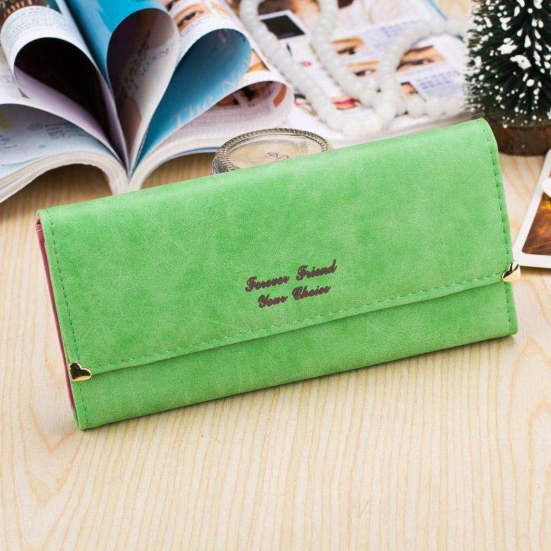 New Fashion Women Wallet Nubuck Leather Print Heart Rivets Multifunction Vintage Purse Clutch Bag