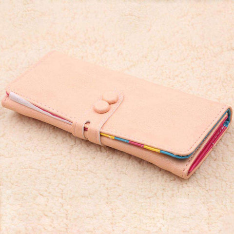 New Fashion Women Long Purse PU Leather Press Stud Closure Candy Color Wallet Card Holder gallery 5