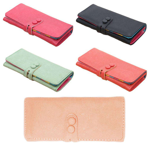 New Fashion Women Long Purse PU Leather Press Stud Closure Candy Color Wallet Card Holder gallery 3