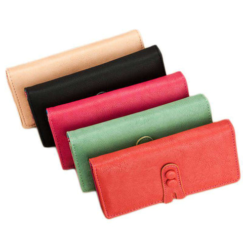 New Fashion Women Long Purse PU Leather Press Stud Closure Candy Color Wallet Card Holder gallery 2