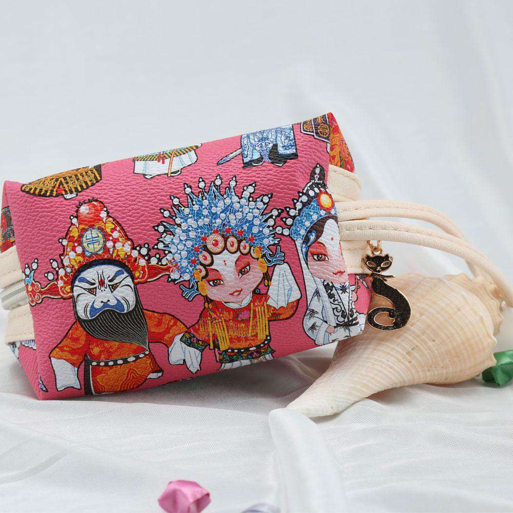 New Fashion Women Purse PU Leather Peking Opera Character Print Zipper Closure Coin Wallet
