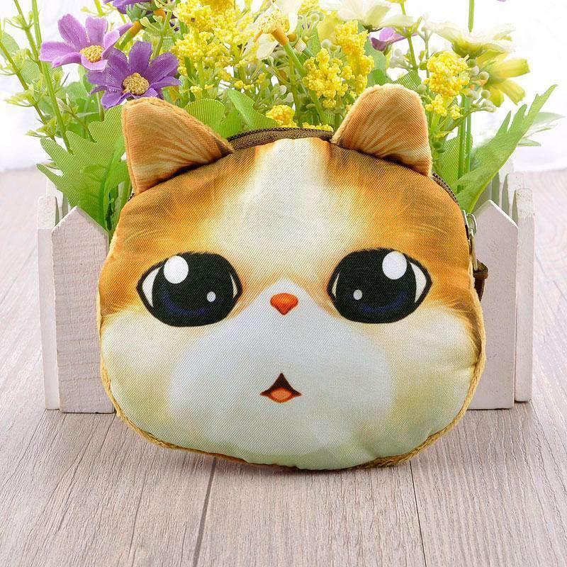 Cute Fashion Women Coin Purse Cat Animal Print Mini Wallet Zipper Closure Small Clutch Bag