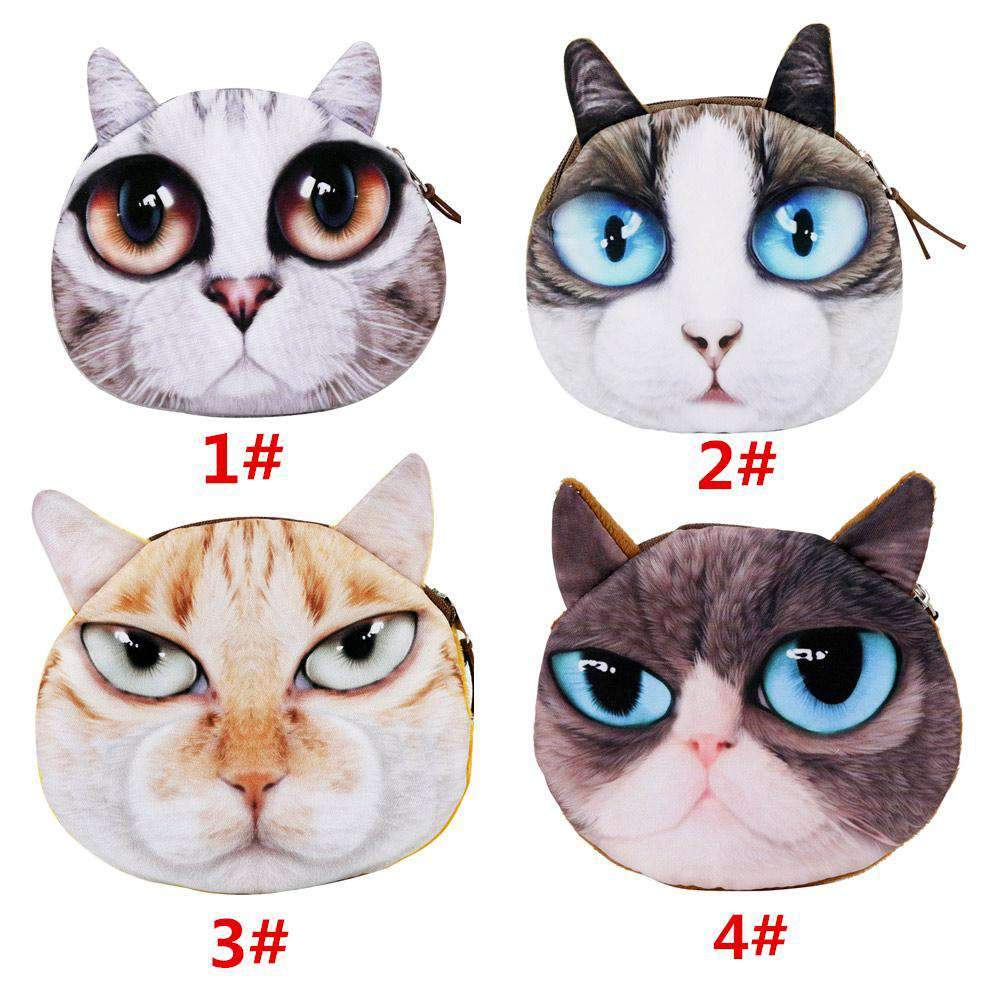 Cute Fashion Women Coin Purse 3D Cat Animal Head Print Tail Mini Wallet Zipper Closure Small Clutch Bag