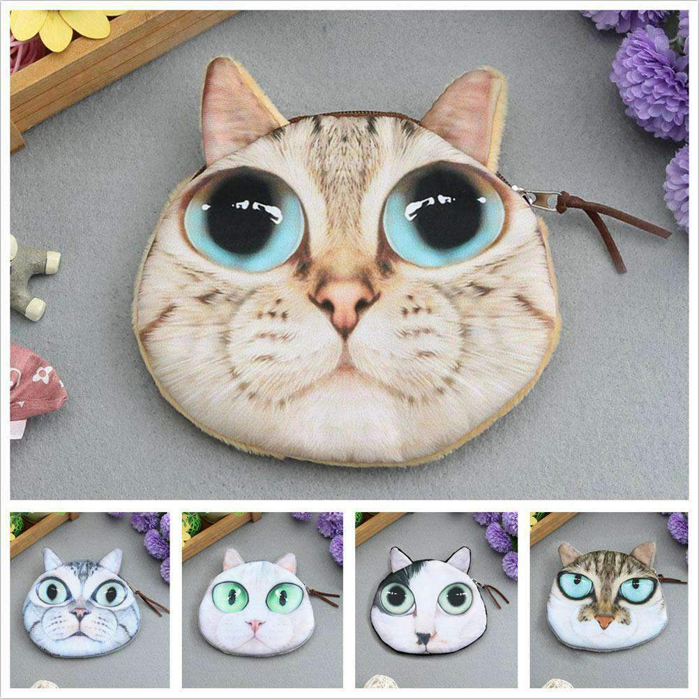 Cute Fashion Women Mini Coin Purse Wallet Cat Animal Head Print Zipper Closure Small Clutch Bag
