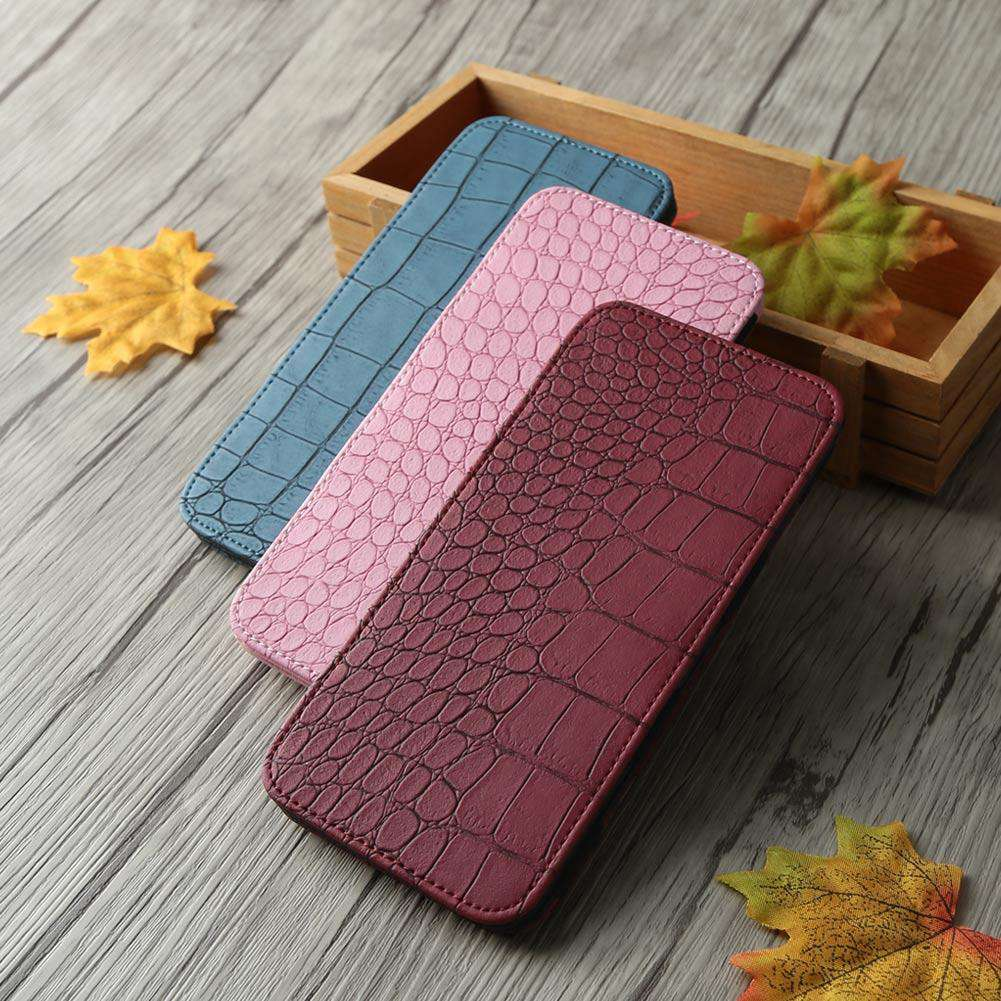 Women Long Wallet Crocodile Pattern Bi-fold Elastic Band PU Purse Clutch Bag Cash Card Holder Burgundy/Blue/Pink