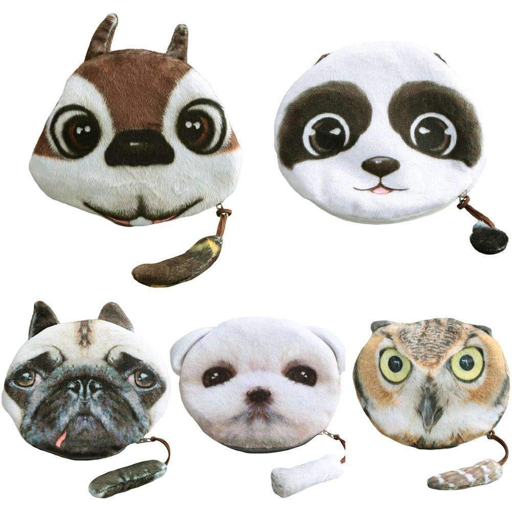 Fashion Women Coin Purse Animal Head Print Zipper Closure Cute Mini Wallet Small Cartoon Clutch Bag