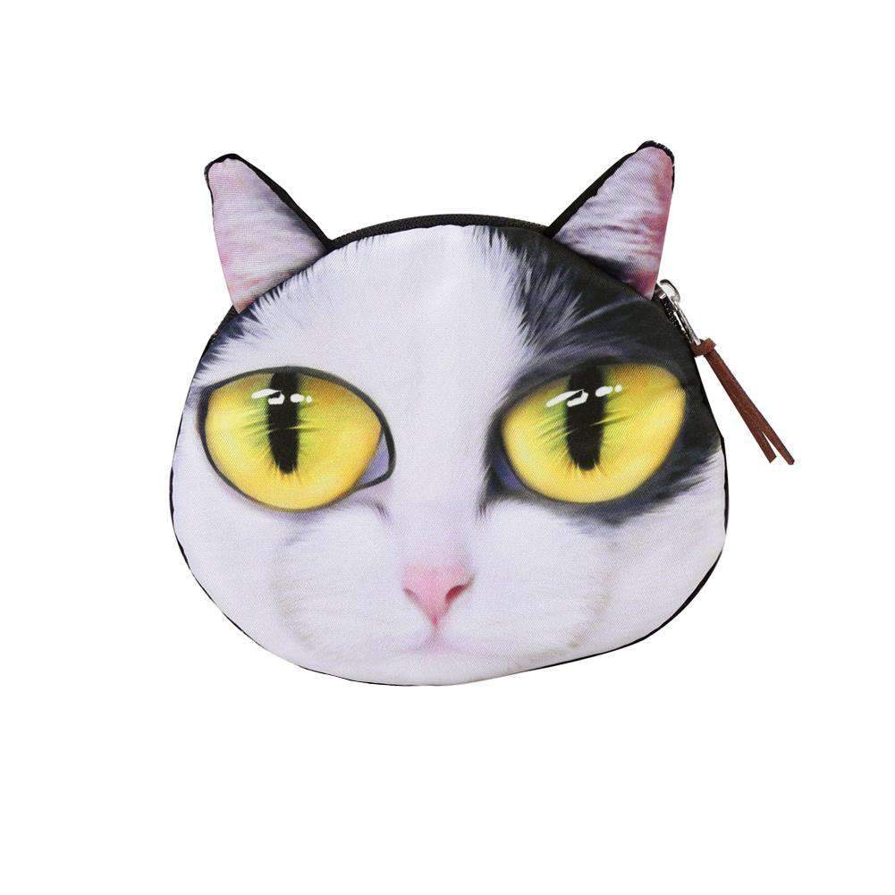Cute Fashion Women Coin Purse Cat Animal Head Print Zipper Closure Mini Wallet Small Clutch Bag