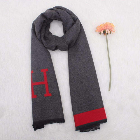 Autumn Winter Pashmina Scarf Dual Purpose Thickening H Letter Print Patchwork Shawl For Women gallery 5