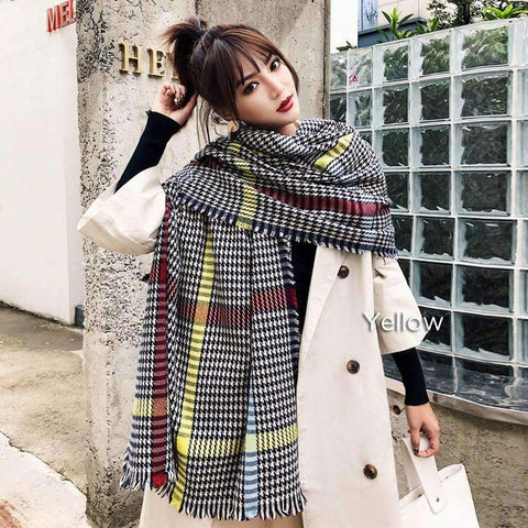 Classic Long Check Scarf With Frayed Edges For Men And Women, Unisex Faux Cashmere Plaid Muffler gallery 4