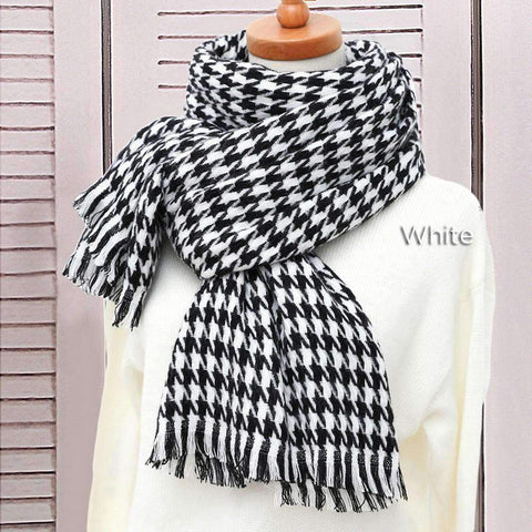 Classic Long Check Scarf With Frayed Edges For Men And Women, Unisex Faux Cashmere Plaid Muffler gallery 9