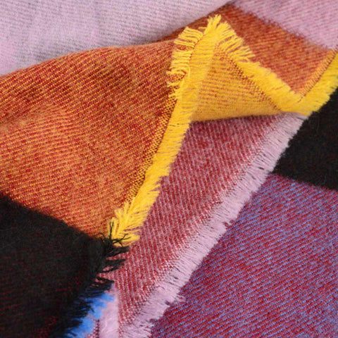 Multicolored Oversized Patchwork Scarf With Frayed Edges, Multifuntional Fashionable Winter Check Muffle gallery 5