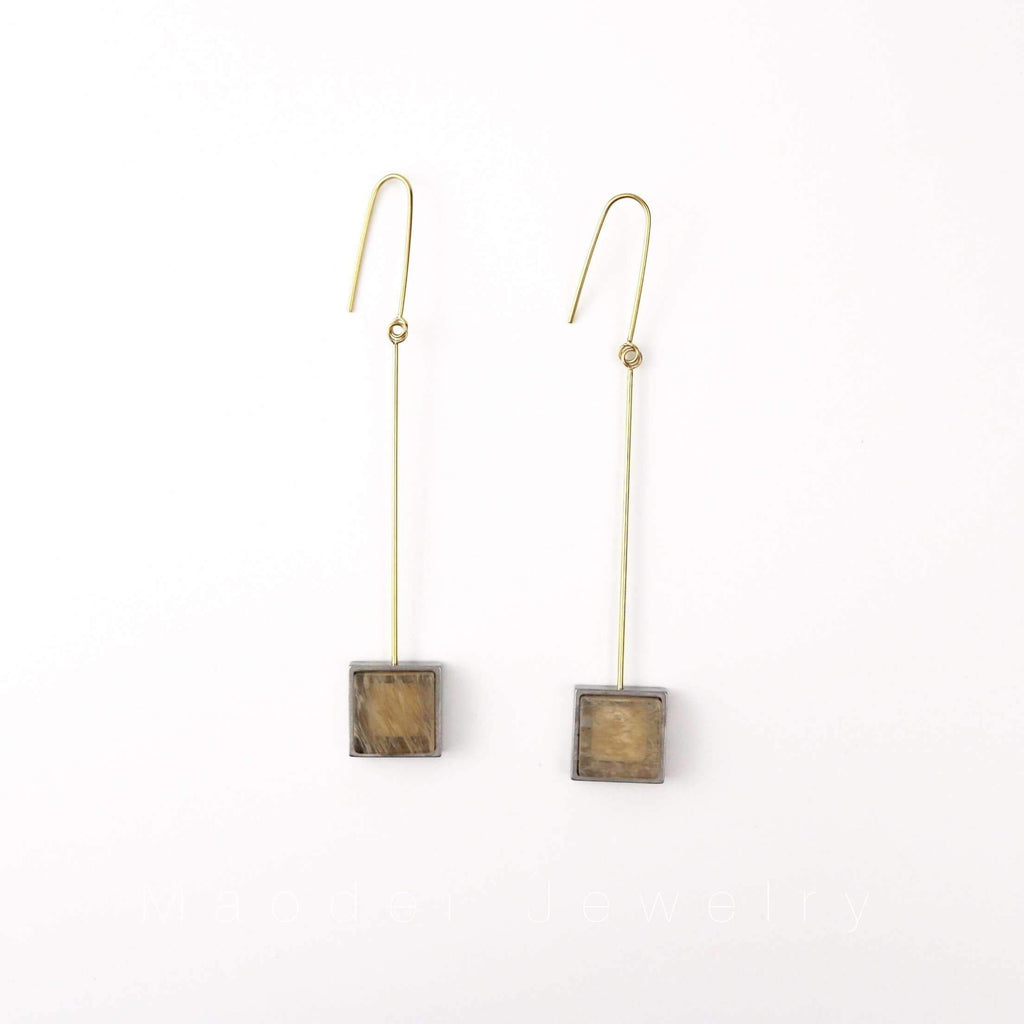Long Hangers With Silver Plated Square Earrings
