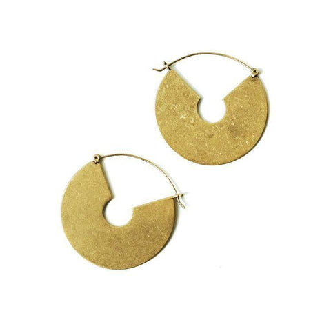 Chunky Gold Large Disc Hoop Earring