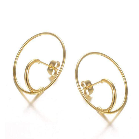 Double Layer Curved Design Earrings