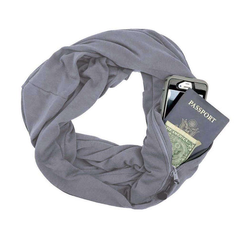 New Unisex Autumn Winter Scarves Solid Color Warm Windproof Scarf With Zipper Pocket Storage Bag gallery 4
