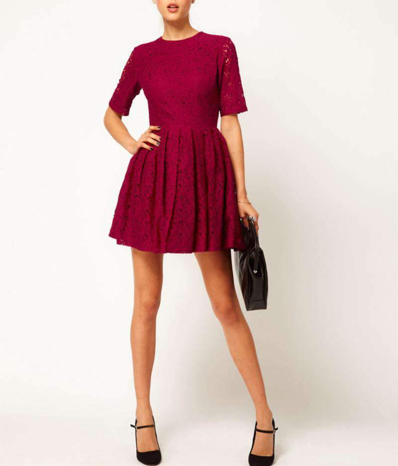 Elegant Women Lady Dress Floral Lace One-piece Party Prom Slim Skater Dress Burgundy