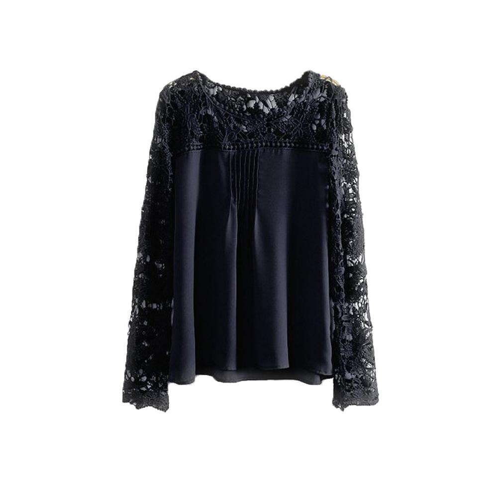 New Fashion Women Chiffon Blouse Lace Crochet Embroidery Sheer Sleeve Oversized Tee Tops Shirt