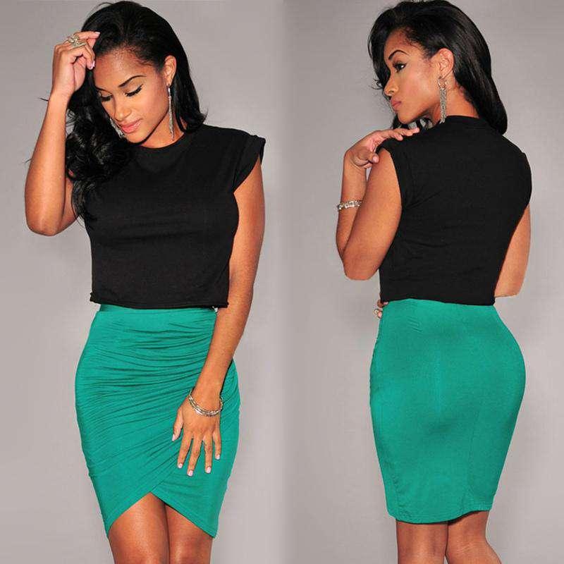 New Fashion Women Skirt Stretch Draped High Waist Asymmetric Ruched Sexy Mini Pencil Skirt Black/Green/Pink