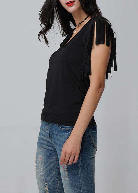 Sexy Women Low Cut V Neck Tassels T-Shirt Sleeveless Solid Casual Slim Cami Tee Tank Top gallery 2