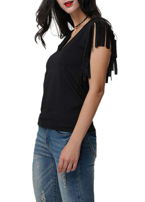 Sexy Women Low Cut V Neck Tassels T-Shirt Sleeveless Solid Casual Slim Cami Tee Tank Top gallery 4
