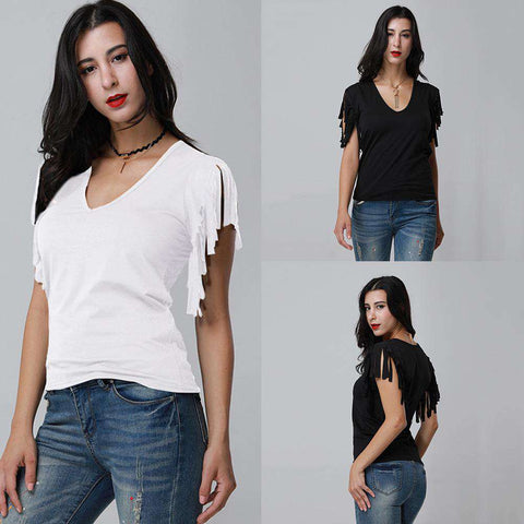 Sexy Women Low Cut V Neck Tassels T-Shirt Sleeveless Solid Casual Slim Cami Tee Tank Top gallery 5