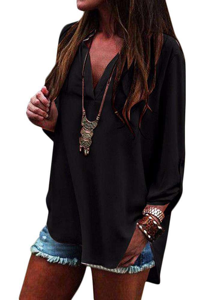 e9036f74c New Vintage Women Loose Blouse V-Neck Long Sleeves Solid Color Casual  Chiffon Shirt Top