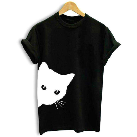 Women T-shirt Contrast Cat Print Rolled Short Sleeve Round Neck Casual Funny Hipster Tee Tops gallery 6