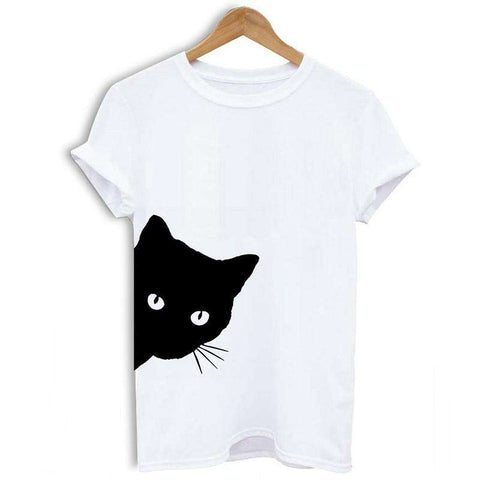 Women T-shirt Contrast Cat Print Rolled Short Sleeve Round Neck Casual Funny Hipster Tee Tops gallery 1