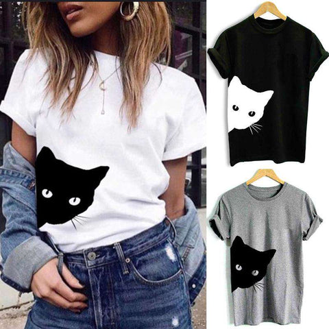 Women T-shirt Contrast Cat Print Rolled Short Sleeve Round Neck Casual Funny Hipster Tee Tops gallery 2