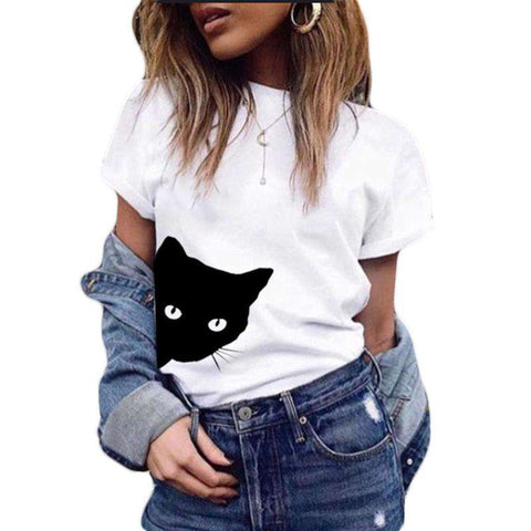 Women T-shirt Contrast Cat Print Rolled Short Sleeve Round Neck Casual Funny Hipster Tee Tops gallery 5