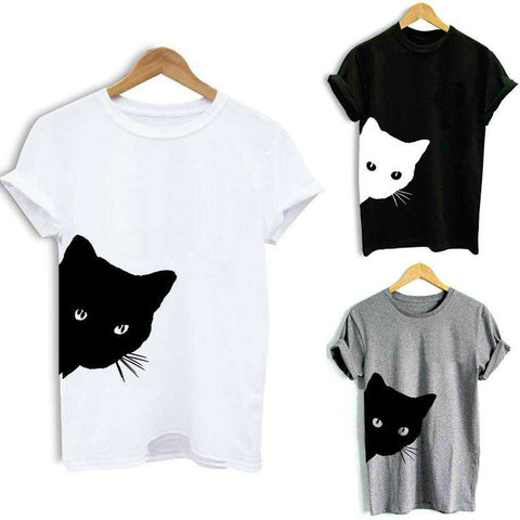 Women T-shirt Contrast Cat Print Rolled Short Sleeve Round Neck Casual Funny Hipster Tee Tops gallery 4