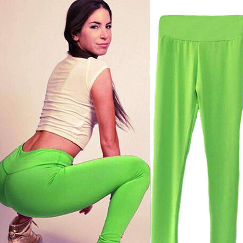 Fashion Women Leggings Fitness Candy Color Elastic Waist Stretchy Yoga Sport  Running Pants Trousers gallery 10