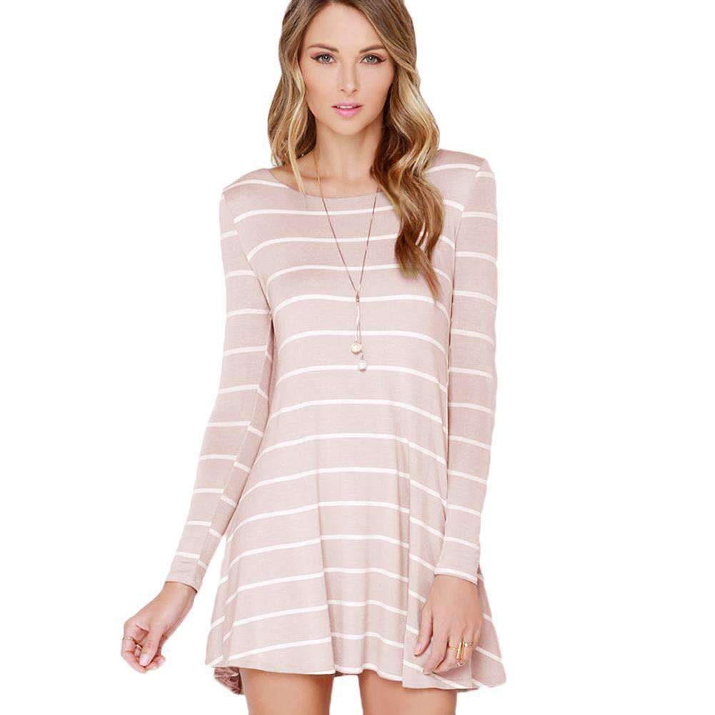Fashion Women Striped Dress Contrast Stripe Round Neck V Back Long Sleeve Mini Dress White/Pink