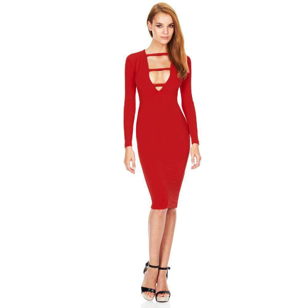 Fashion Sexy Women Dress Deep V-Neck Front Strap Long Sleeve Bodycon Knee-Length Party Dress
