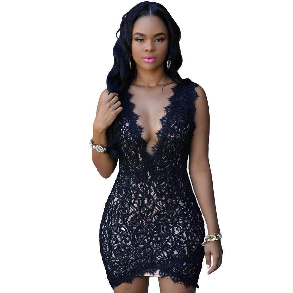 Europe Sexy Women Dress Crochet Lace Deep V-Neck Zipper Back Sleeveless Bodycon Mini Dress Black/White