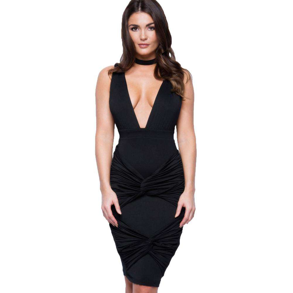 New Sexy Women Dress Deep V-Neck Choker Twist Bandage V Back Nightclub Party Mini Dress Purple/Black
