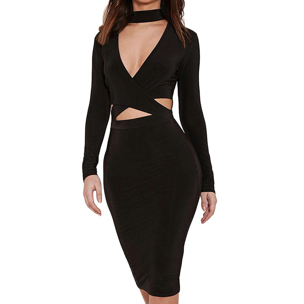 New Sexy Women Solid Dress Cross Cut Out Halter Long Sleeve Bodycon Nightclub Party Midi Pencil Dress Black