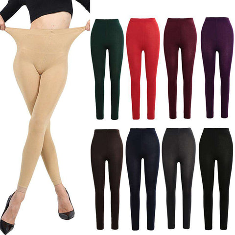 Sexy Women Autumn Winter Leggings Solid High Elastic Waist Thick Warm Tights Bodycon Pants gallery 10