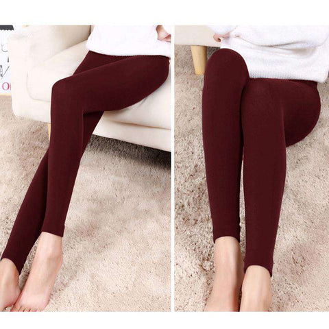 Sexy Women Autumn Winter Leggings Solid High Elastic Waist Thick Warm Tights Bodycon Pants gallery 6