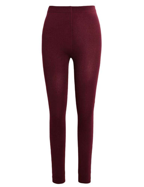 Sexy Women Autumn Winter Leggings Solid High Elastic Waist Thick Warm Tights Bodycon Pants gallery 8
